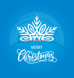 xmas card with hand-drawn lettering and snowflake vector image
