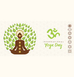yoga day banner person lotus pose tree vector image