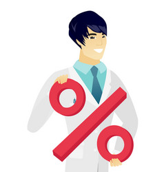 Young asian doctor holding percent sign vector