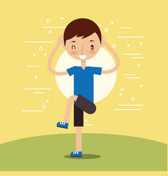 Young boy training fitness stertching vector