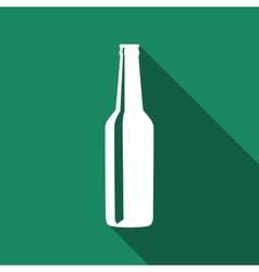 Beer bottle flat icon with long shadow vector image vector image