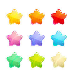 cartoon glossy colorful stars set vector image
