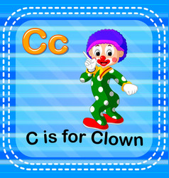 flashcard letter c is for clown vector image