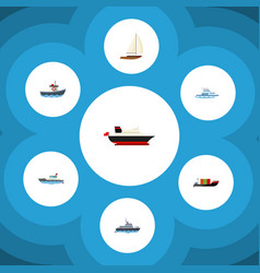 flat icon vessel set of tanker transport yacht vector image