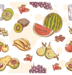 Fresh fruit hand drawn seamless pattern vector