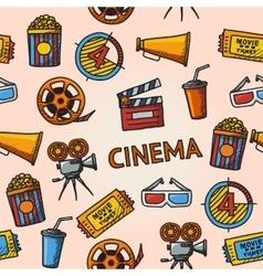 Seamless cinema handdrawn pattern vector image