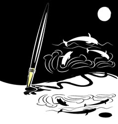 abstract black white brush vector image vector image