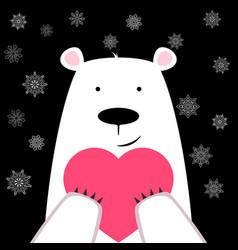 funny cute polar bear with heart vector image vector image