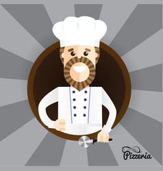 happy pizza maker making thumbs up sign trendy vector image