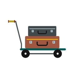 Suitcases on a cart icon vector image