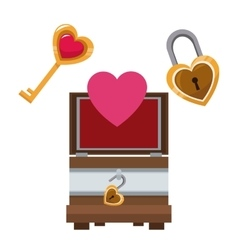 valentine day wooden box heart key and lock vector image vector image