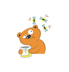 Cute bear with honey and bees vector