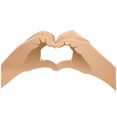 Hands shows heart symbol vector image