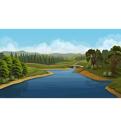 Nature landscape river background vector image vector image