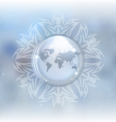 Snow globe with map vector image