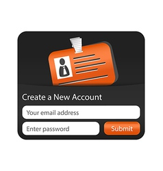 Create a new account form with orange ID card vector image vector image