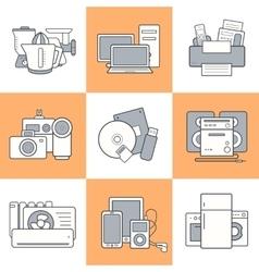 Home electronics icons set vector image