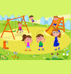 kids playing at the park with adult vector image