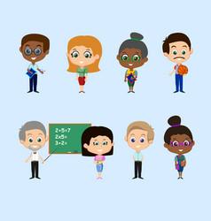 set of teachers vector image
