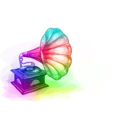 Vintage Gramophone in iridescen colours vector image vector image