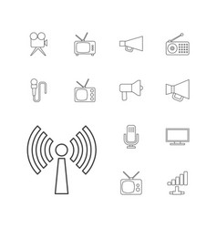 13 broadcast icons vector