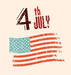 4 th July with Grunge American Flag vector image