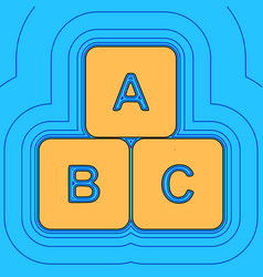 abc cube sign sand color vector image