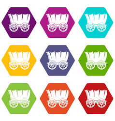ancient western covered wagon icon set color vector image