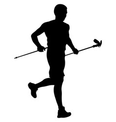 Athlete skyrunner with trekking sticks vector