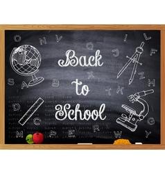 Back to School written on a black chalkboard vector