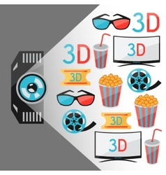 Background of movie elements and cinema icons vector image