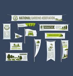 Banners flags set gardening association vector