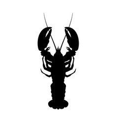Black silhouette of lobster top view vector