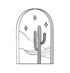 Bohemian modern arch logo design cactus stars vector