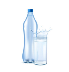 bottle and water splash in glass realistic vector image