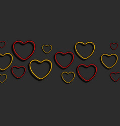 bright red and yellow neon hearts abstract vector image