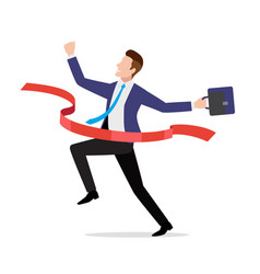 businessman in suit crossing red finish line vector image