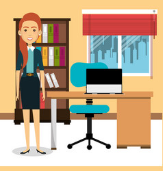 Businesswoman in the office avatar character icon vector