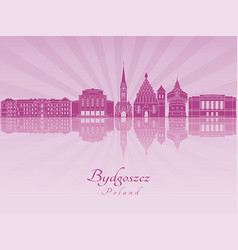 bydgoszcz skyline in purple radiant orchid vector image
