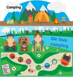 Camping Banner People with Dog vector image
