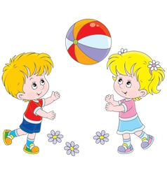 Children playing a ball vector