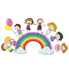 Children standing on the rainbow vector image