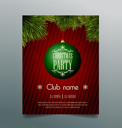 Christmas party flyer template - green bauble vector image