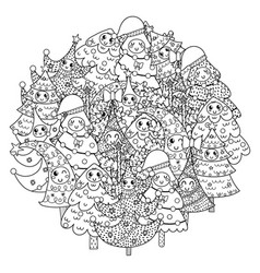 Circle shape coloring page with funny christmas vector