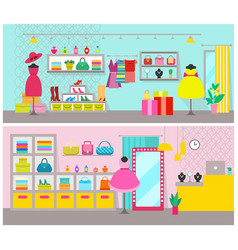 Clothing store posters set vector