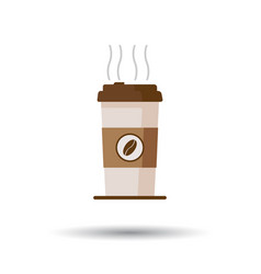 Coffee cup icon with coffee beans on white vector