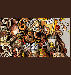 Coffee hand drawn doodle banner cartoon detailed vector