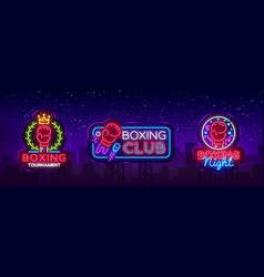 collection boxing neon signs design vector image