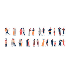 collection of relationship development stages set vector image