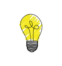 Color light bulb hand drawn vector